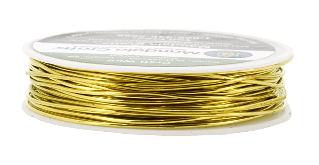 Mandala Crafts Thin Copper Wire for Jewelry Making, Sculpting, Weaving, Hobby, Gem Metal Wrap; Soft and Bendable; 1 Spool (18 Gauge 9M, Gold)