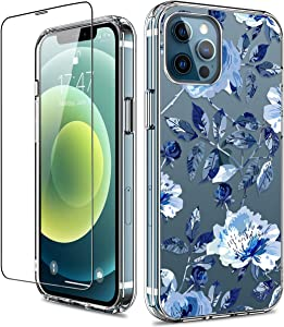 GiiKa for iPhone 12 Pro Max Case with Screen Protector, Clear Full Body Shockproof Protective Floral Girls Women Hard Case with TPU Bumper Cover Phone Case for iPhone 12 Pro Max, Blue Flowers