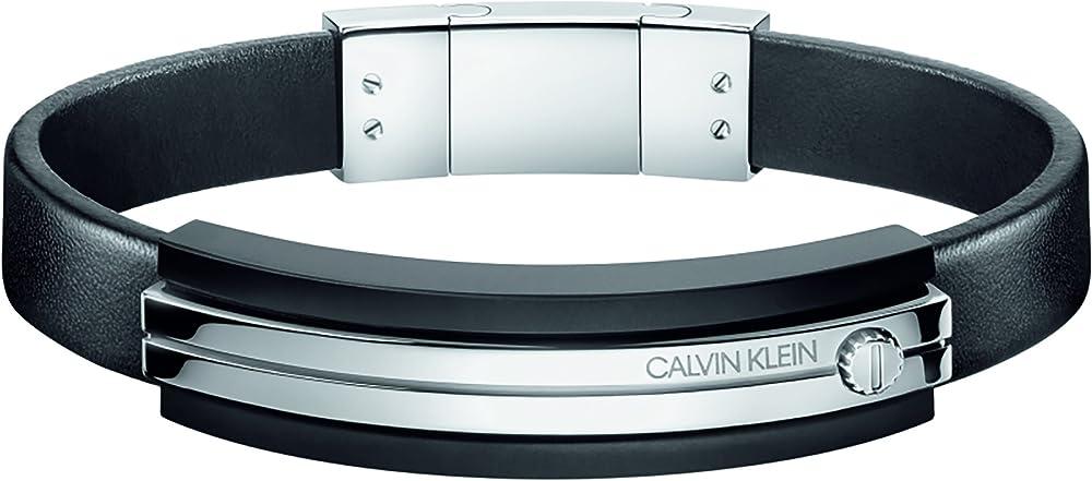 Calvin klein bracciale uomo  cinturino in acciaio e silicone KJ8AMB290100