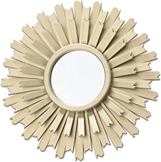WHW Whole House Worlds Burst Accent Mirror, Brilliant Reflective Glass, Circular, Inset Bevel, Golden Gilt Finish, Radiant Petals or Beams Frame, 9.75 Inches Diameter