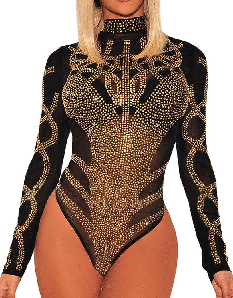 650 - Plus Size Sheer Mesh Rhinestones Long Sleeves Bodysuit