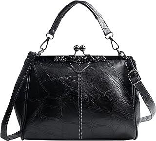 7VSTOHS Damen Retro Handtasche Hand Vintage Umhängetaschen Handtasche mit Griff oben Mode Umhängetaschen Kiss Lock Umhänge...