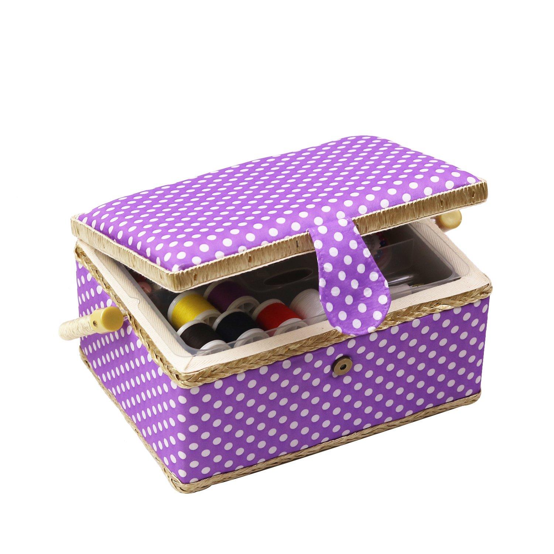 D & D caja de costura cesta organizador con accesorios, hogar caja de costura Kit de costura básicos para hogar y viaje, coser kits regalo Medium morado: Amazon.es: Hogar