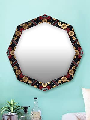 999Store Printed Golden Flowers and Green Leaves Octagon Mirror (MDF_17X17 Inch_Multi)