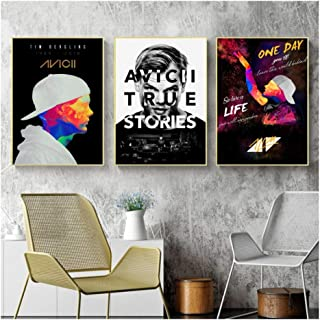 Suuyar Avicii Music Art Silk Poster Canvas Painting Home Wall Decor Print on Canvas Decoration Gift Wall Art -50x70cmX3Pcs No Frame