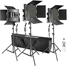 Neewer 3 Packs Advanced 2.4G 660 LED Video Light Photography Lighting Kit, Dimmable Bi-Color LED Panel with LCD Screen, 2....