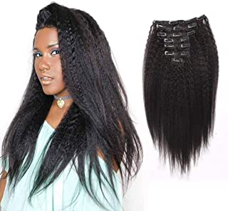 AmazingBeauty Clip In Hair Extensions Afro Kinky Straight 8A Grade Thick 100% Remy Hair Natural Black 10-22inch 7 Pieces with 18 Clips 120g/4.2oz per Set Fit For Full Head 16 inch