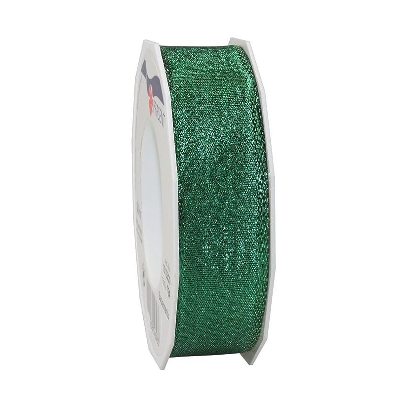 Morex Ribbon 15125/20-035 French Wired Polyester Sacramento Ribbon, 1-Inch by 22-Yard, Emerald