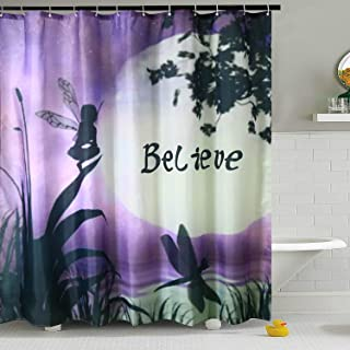 ViviLinen Shower Curtain Purple Fabric Water Resistant Bath Curtains with 12 Hooks for Bathroom Home Decorations (Style 2, 72