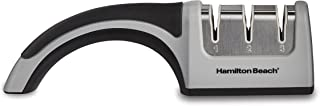 Hamilton Beach 86601 Manual Kitchen Knife Sharpener, Smooth Glide Spinning Grinding Wheels, 3 Stages, Grey