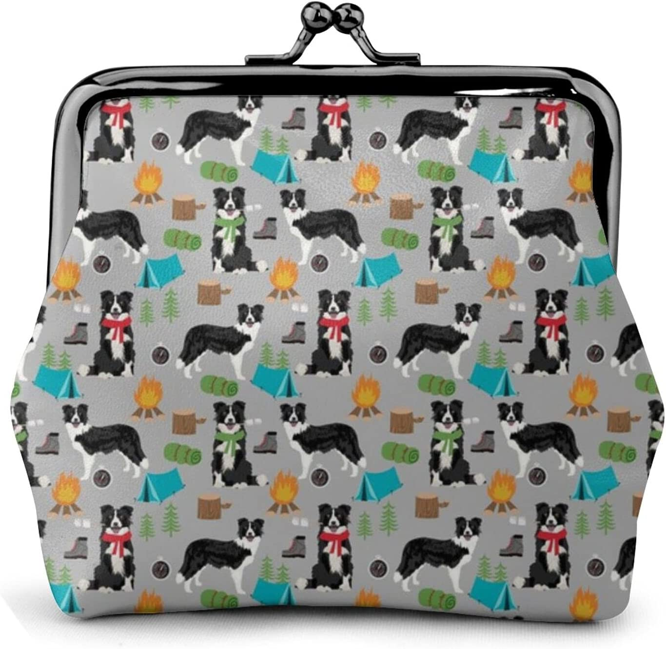 Border Collie Camping 712 Coin Purse Retro Money Pouch with Kiss-lock Buckle Small Wallet for Women and Girls