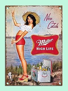 Jesiceny New Tin Sign Retro Style Miller Beer Girl Fishing Bar Den Aluminum Metal Sign 8x12 INCH