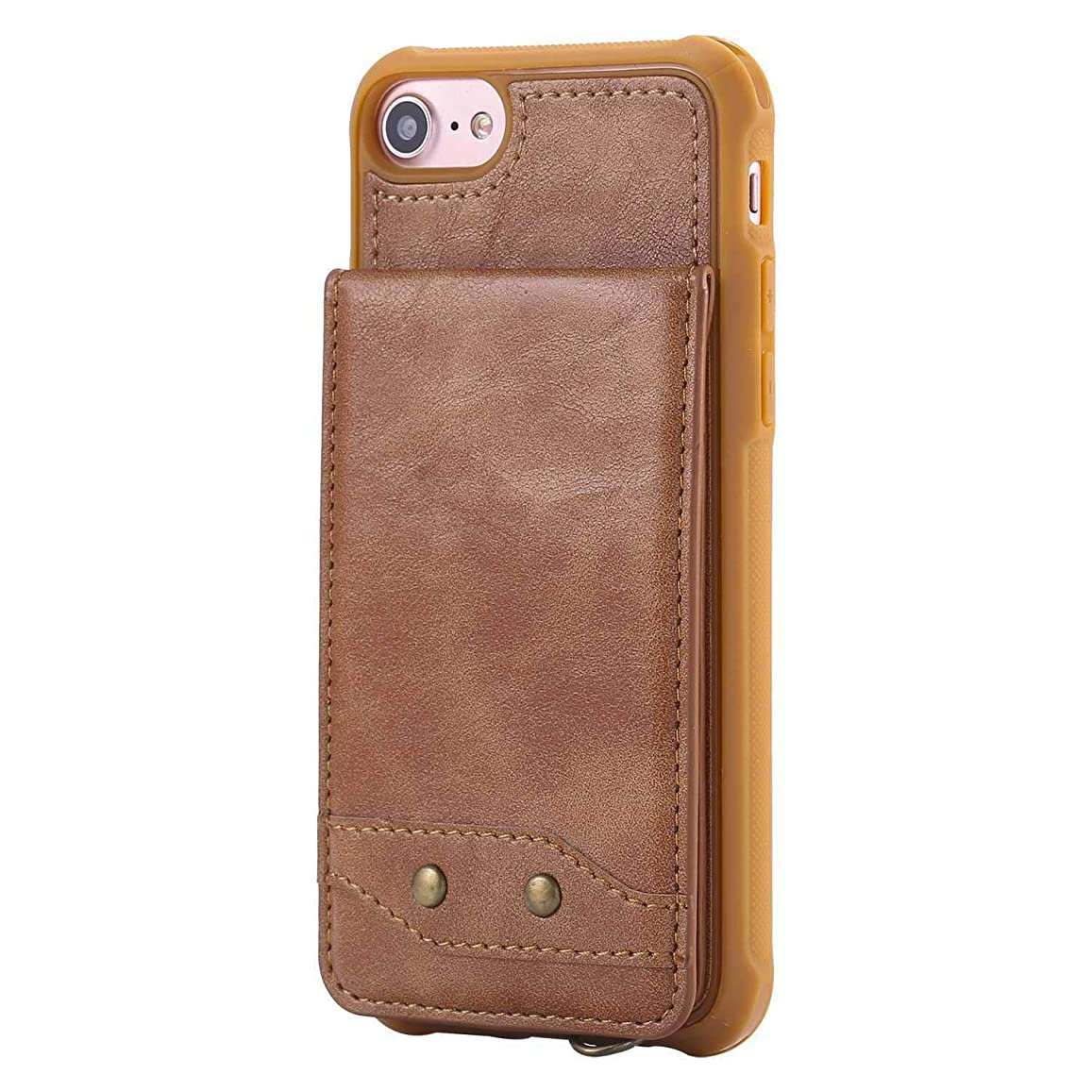 時折ヒューマニスティック論理的iPhone 7 / iPhone 8 新品 ケース, CUNUS 高品質 柔軟 合皮レザー ケース, 超薄型 軽量 耐汚れ カード収納 カバー Apple iPhone 7 / iPhone 8 用, ブラウン1