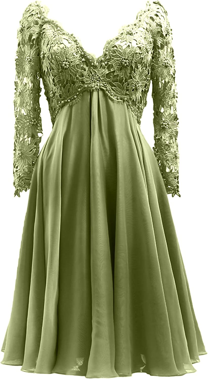MACloth Women V Neck Lace Formal Gown Long Sleeves Midi Mother of Bride Dress