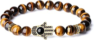COAI CZ Paved Hamsa Hand Protection Tourmaline Tiger Eye Stone Bracelet for Men Women