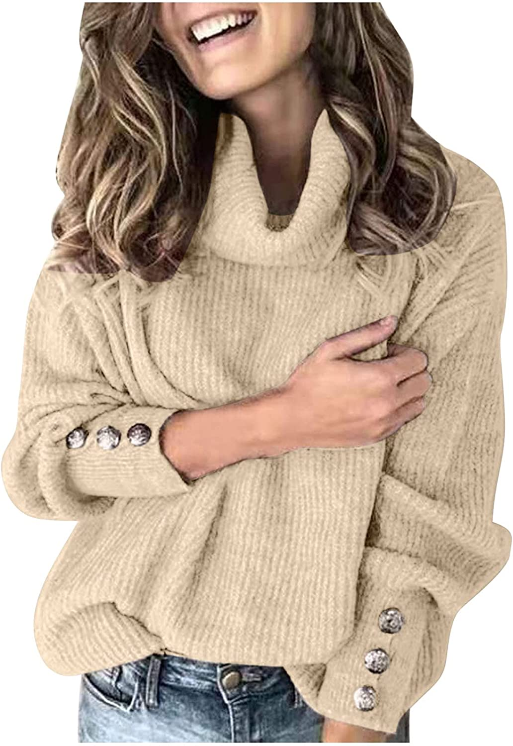 Women Turtleneck Solid Sweaters,Vintage Oversized Trendy Pullover for Work,Fall Long Sleeve Lightweight Knit Jumper