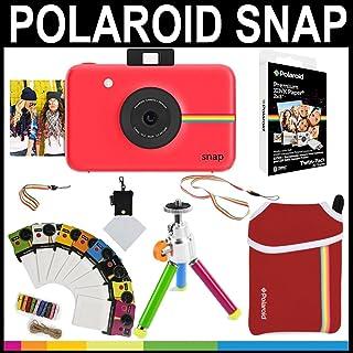 Polaroid - Cámara instantánea Snap (Rojo) + Papel Zink 2x3 (paqute de 20) + Funda de Neopreno + Marcos para Fotos + Set de Accesorios
