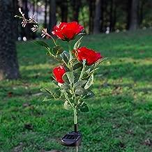 Elstey 太阳能灯玫瑰花与红框,太阳能户外防水 LED 灯,花园景观装饰照明。 玫瑰红 mgh-03