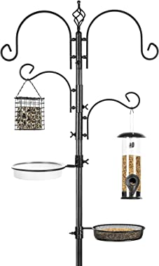 Best Choice Products 4-Hook Bird Feeding Station, Steel Multi-Feeder Kit Stand for Attracting Wild Birds w/ 2 Bird Feeders, M