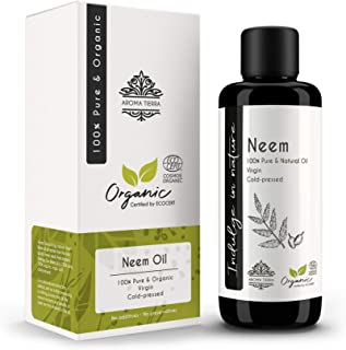 Neem Oil (Certified Organic) - Aroma Tierra - Fights skin & scalp infections, Boosts hair growth, Skin-care, Hair-care - 1...