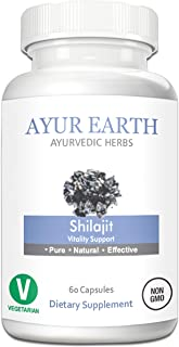Pure Shilajit Vegetarian Pills - Ayurvedic Shilajit Resin - Fulvic Acid & Trace Minerals - Shilijat Extract Boosts Testosterone Levels & Reduces Joint Pain/Inflammation - 30 Day Supply (60 Capsules)