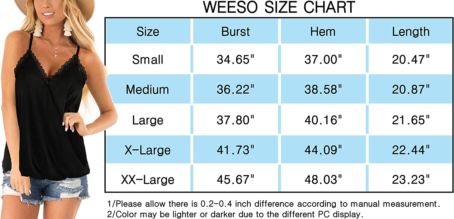 WEESO Womens Tank Tops Loose Fit Casual Summer Lace V Neck Wrap Camisole