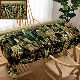 Unique Custom Design Cotton and Linen Blend Tablecloth New York Aerial View of Bryant Park and Midtown Skyscrapers at Summer SunsetTablecovers for Rectangle Tables, Small Size 48