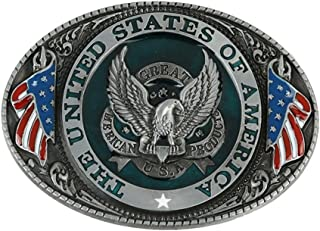 The United State of American Flag Belt Buckle Patriotic Eagle for 4th of July Party