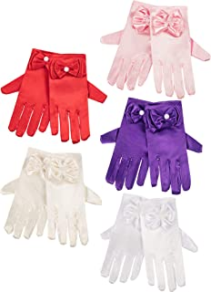 5 Pairs Girls Silky Satin Fancy Gloves Wrist Length Princess Dress up Bows Formal Gloves for Age over 3 Years, 5 Colors