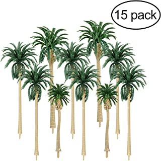 NUOLUX Model Tree Coconut Palm Trees Scenery Model Miniature Railroad Diorama Layout Architecture Trees for DIY Scenery Landscape, Natural Green 5 Size 15Pcs