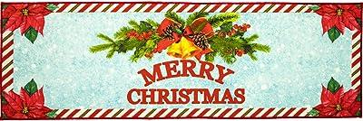 Softlife Merry Christmas Decorative Rug 24 x 72 inch Indoor Entrance Doormat Welcome Runner Rug for Bedroom Playroom Kitchen Fireplace Front Door Xmas Party Home Decor Floor Carpet