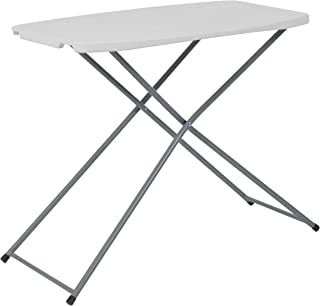 Flash Furniture 18.75''W x 29''L Height Adjustable Granite White Plastic Folding Table -