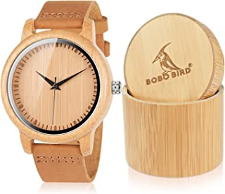 Men's Bamboo Wooden Watch with Brown Cowhide Leather Strap Japanese Quartz Movement Sports Casual Watches Gift with Box