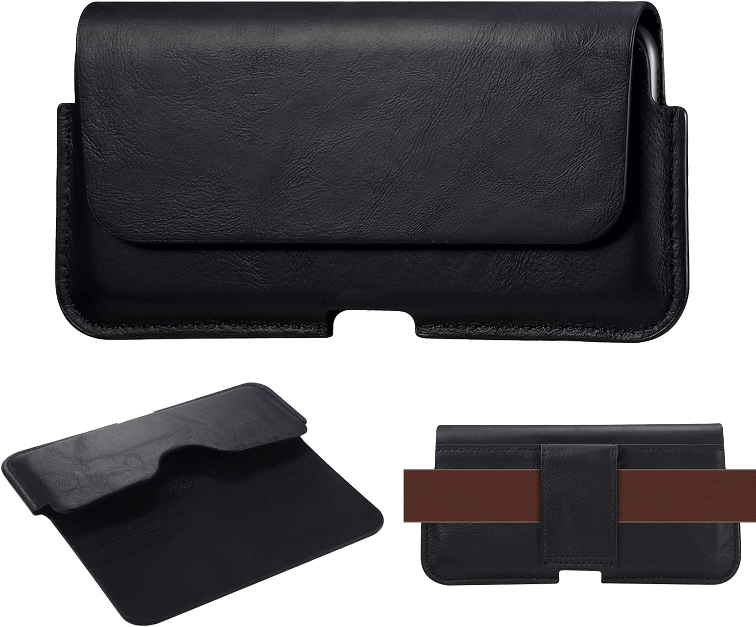 Genuine Leather Belt Holster for Xiaomi Max3,Max2,Cell Phone Holster with Belt Loop Pouch Cases for Huawei mate40lite,Mate 20X,Enjoy max,for Men's case【Magnetic Closure】