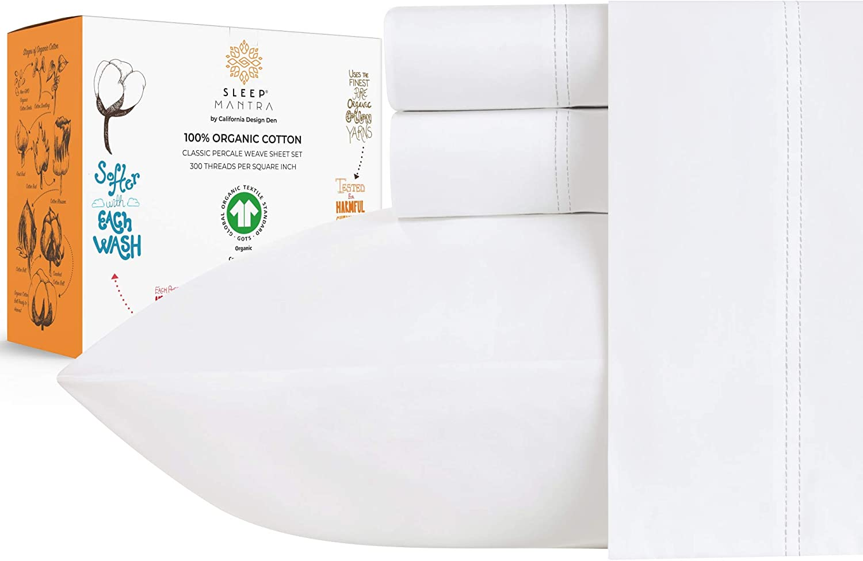 100% Organic Cotton Sheet Set - Percale Crisp Cooling Weave 超定番 and 品質保証