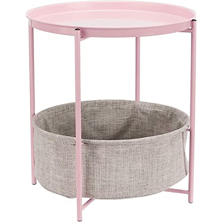 Amazon Basics Round Storage End Table - Dusty Pink with Heather Grey Fabric