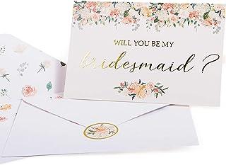 بطاقات مقترحة لإشبينة العروس. مجموعة صندوق من 8 بطاقات مكتوب عليها Will You Be My Bridesmaid و2 Maid of Honor 4 × 6 بطاقات...