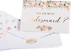 Bridesmaid Proposal Cards. Box set of 8 Will You Be My Bridesmaid and 2 Maid of Honor Cards. 4 x 6 Floral Cards with Gold Foil Ideal for Bridal Party or to go with Bridesmaid Gifts