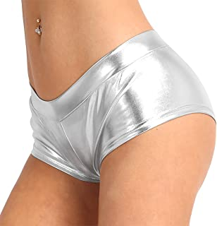 c53d053c3 ranrann Women s Shiny Metallic Faux Leather Booty Shorts Low Rise Slim  Fitted Dancewear Boxer Briefs Underwear