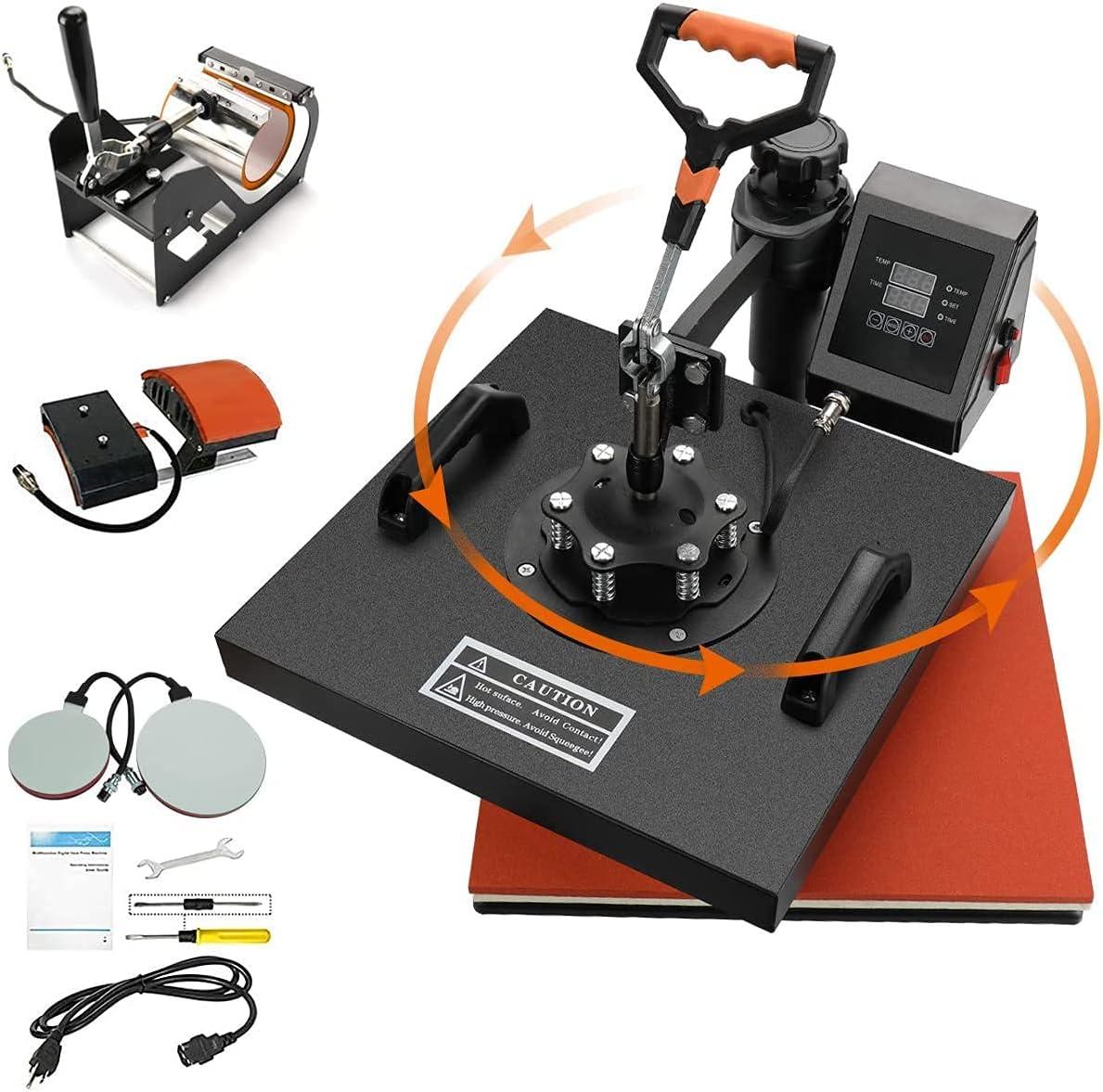 Prensa de calor 38x38 5 en 1 Prensa de impresión por sublimación digital Máquina industrial de transferencia de calor de concha para camisetas