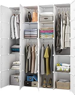 KOUSI Portable Closet Wardrobe Closet Room Closet with Doors Wardrobe with Storage Wardrobes for Bedrooms Portable Closet Wardrobe Bedroom Armoire, White, 4 Hanger