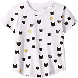 Soft Vintage Jersey All Over Black & Gold Cat Print Short Sleeve Shirttail Crew Neck Tee (Toddler/Little Kids)