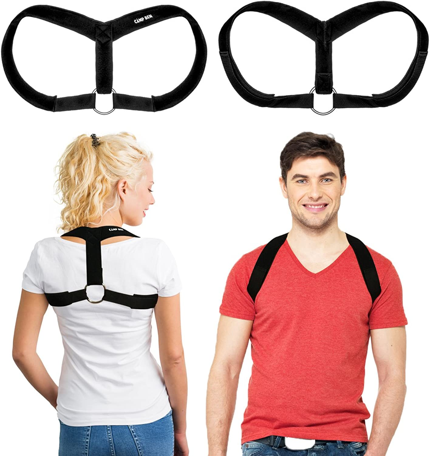 CAMP BEN Posture Corrector for Women and Men (Large 39-46 inches) Adjustable Back and Shoulder Clavicle Brace - Support for Back Pain and Broken Collarbone - Bonus Yoga Strap w Posture Exercises
