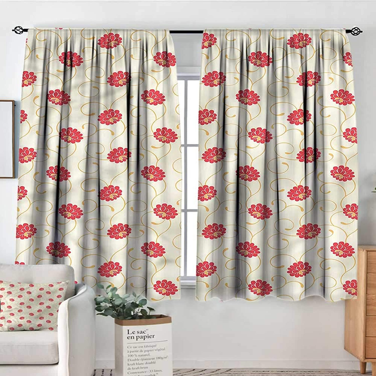 Familytaste Yellow and Red,Boy's Iving Room Curtain Blossoming Flowers 42 X54  Indo Treatments for Short Indo
