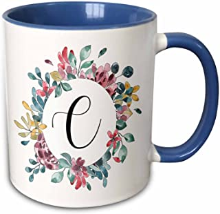 3dRose 274054_6 Pretty Watercolor Floral Circle Frame With A Monogram Initial C, Blue Mug, 11 oz, White