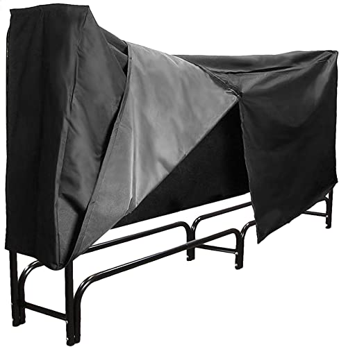 new arrival Sunnydaze Firewood Rack and new arrival Cover Combo Set - 8-Foot Outdoor Black Powder-Coated Steel Log Holder with Black wholesale Water-Resistant Heavy-Duty Protective PVC Cover online