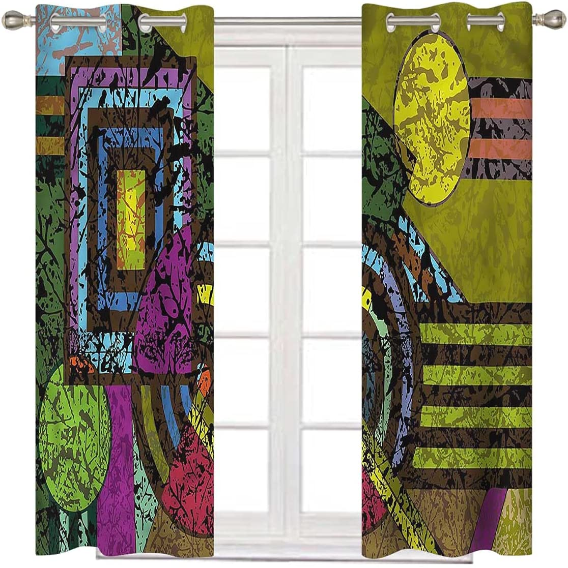 Abstract Grommet Long-awaited Curtain Time sale Panel 63 Murky Grunge Trippy Inch Long