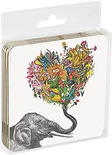 Tree-Free Greetings ECO Coasters Box Set of 4 Drink Coasters, 3.5 x 3.5 Inch, Love Elephant (EC96864)