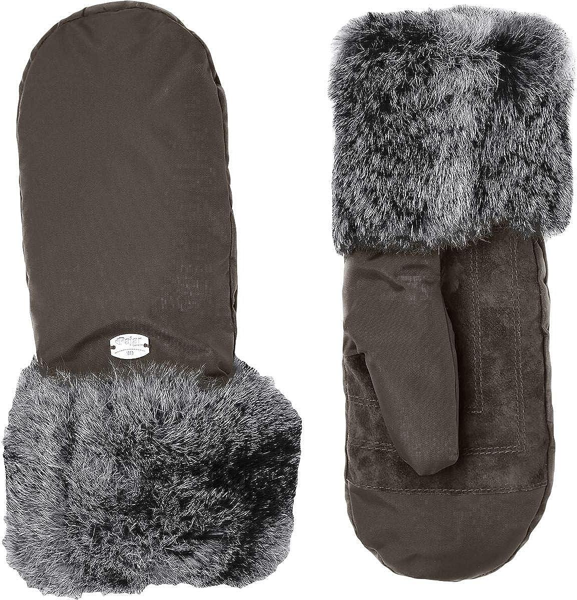 Pajar Womens Reid Fur Trim Sueded Mittens Gray XS/S