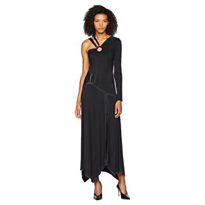 YIGAL AZROUEL Patchwork Gown w/ Leather Strap (Black) Women